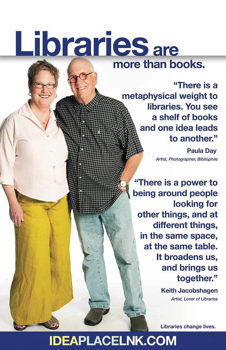 Keith Jacobshagen and Paula Day for Lincoln City Libraries