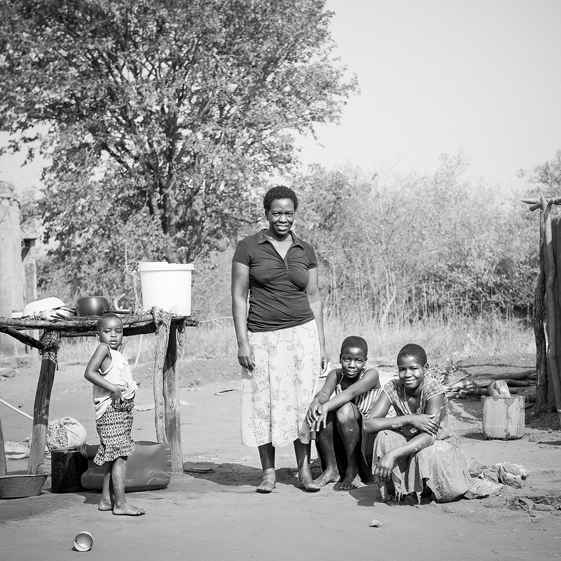 Family in Lake Kariba Fishing Village