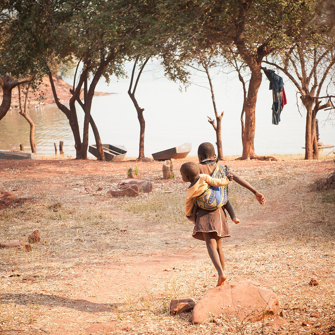 Children playing in Lake Kariba Fishing Village